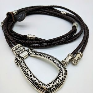 Accessories - Western Brown Leather Braided Rope Belt